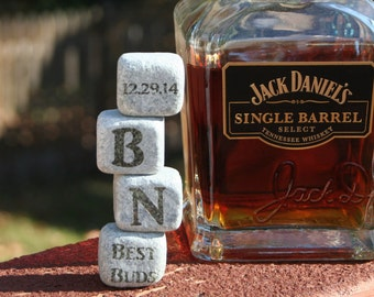 1 Set of 4 Large Man Sized Whiskey Rocks, Unique Groomsmen Gift for Weddings, Personalized Best Man Thank you gift