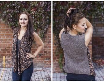 Creative Knit Vest Asymmetrical Vest Knit Summer Vest With Two Different Textures