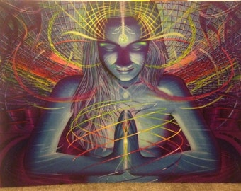 "Psychedelic Visionary Art Poster ""Psychotropic Resonance"", 18x24"",  Similar to Alex Grey"