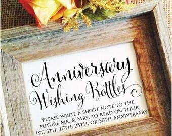 Anniversary Wishing Bottles Sign Wedding Signage (Stylish) (Frame NOT included)