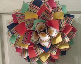 Multi Colored Paper Wreath | Cardstock Wreath | Dahlia Wreath in Primary Colors