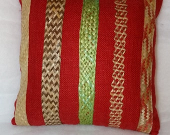 Red Burlap 15 x 15 Home Decor Pillow