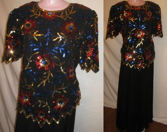 Black blouse with multicolored sequins