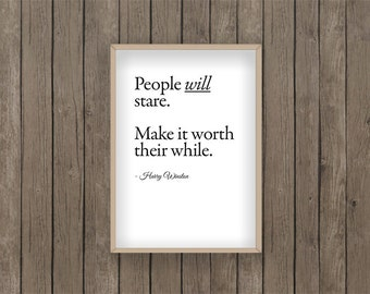 People will Stare Print Quote PDF Printable digital download Style Fashion Clothes Harry winston jewellery