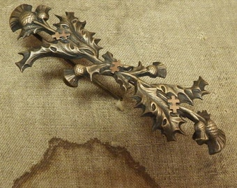 Beautiful  Antique and Vintage Pin With Floral Design and Lorraine Crosses from Paris France