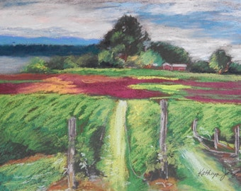 Pastel painting of a Vermont vineyard