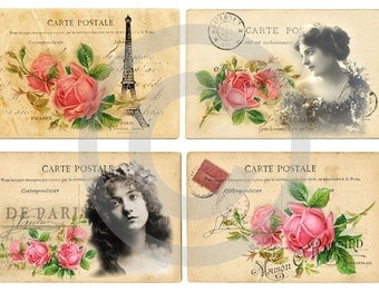 Instant download*digital sheet*old paper*scrapbooking*tags*cards*printable*french roses*20