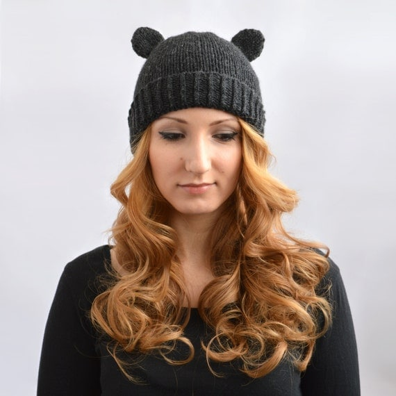 Black Bear Hat Knit Bear Ear Hat or Bear Beanie Womens Bear