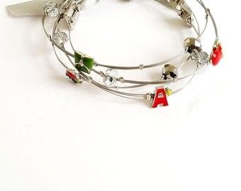 Alphabet (Red) Wired Bracelet