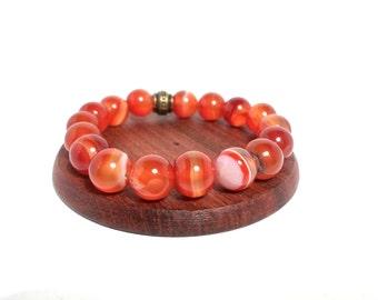 Genuine Red stripe Agate healing gemstone bracelet - Chakra bracelet - Agate bracelet - Spiritual bracelet - Yoga bracelet - Aries jewelry
