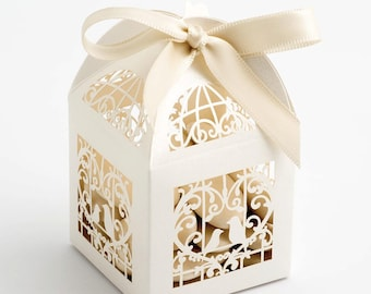 20 design wedding favors box - wedding cage boxes ribbon included
