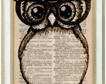 Owl with glasses woodland creature  on 1923 upcycled dictionart page 5X7  buy 2 get 1 FREE!