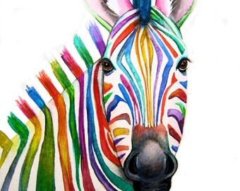 Colourful ZEBRA  Art  Signed Print from an original watercolour painting by artist Maria Moss. Available in 4 sizes.