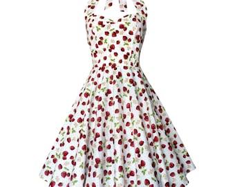 Strawberry Dress Fruit Dress Summer Dress Sun Dress Rockabilly Dress Pin Up Dress 50s Retro Plus Size Holiday Dress Party Dress Beach Dress