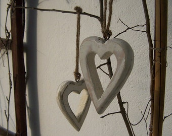 TWO White rustic wood Christmas heart  ornaments shabby chic,   Unique Christmas Gift, Christmas ornaments rustic