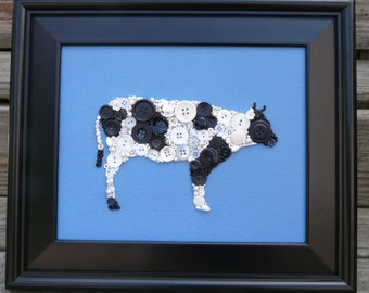 Barnyard Cow ~ Handmade Button & Bead Wall Art 8x10 OOAK ~Country Kitchen Decor ~ Made To Order
