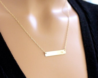 BIG SALE!! Gold Bar Necklace, Layering Necklace, Gold Bar, Personalized Monogram Necklace, Initial Necklace, Gift