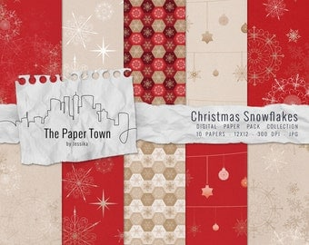 """Red and Gold Christmas Snowflakes Digital Scrapbook Paper Pack - 10 Textured Snowflakes Digital Papers Downloads (12""""x12"""" - 300 dpi - JPG)"""