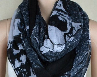 Black cotton scarf, leaves skulls printed scarf, infinite loop infinity scarf, collar