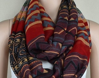 Red cotton scarf, Bohemian striped scarf, infinite loop infinity scarf, collar