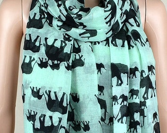 Mint green cotton leisure scarf, lucky elephant print scarves, shawls, collar