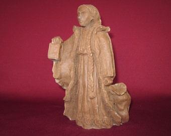 """Craft-tex,La Befana Italian Santa #62014,7"""",crushed pecan figurine,vintage,painting"""