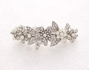Bridal Hair Barrette, Pearl Rhinestone Hair Clip, Wedding Hair Accessories, Crystal Pearl Bridal Hair Piece, Wedding Barrette