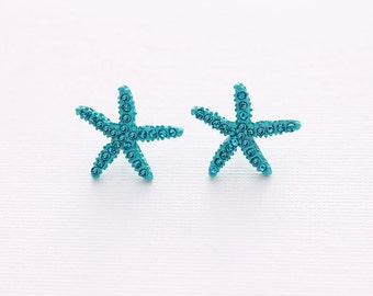 Teal Blue Starfish Earrings Beach Wedding Bridal Bridesmaid Star Fish Earring Accessory Nautical Teal Blue Beach Jewelry