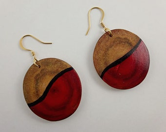 Red/Gold Aspen Wood Earrings, Abstract Design