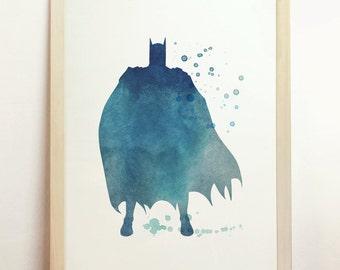 Batman Watercolor DC Giclee Fine Art Print Children's Superhero Bedroom Decor Blue Archival Wall Hanging Print 8x10 A4 8.3 x 11.7 in - N10