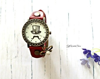 """Retro Leather Watch, Leather Wrap Watch, Leather Bracelet Watch, Wrist Watch, Moustache Leather Watch, Vintage Leather Watch """"bowknot"""" charm"""