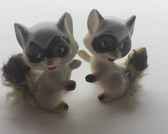 Vintage Porcelain Huggable Raccoon Salt and Pepper Shakers 1960s