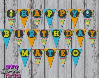 Printable LITTLE MONSTER BANNER - Monster Happy Birthday Pendant Banner - Monster Party Banner - Little Monster Party Decoration