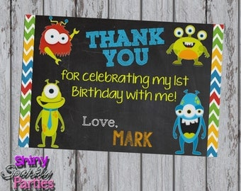 Printable MONSTER THANK YOU Card - Little Monster Thank You Card - Monster Themed Thank You Card - Monster Card - Monster Birthday Thank You