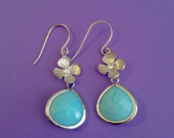 Silver Flower and Sky Blue Stone Earrings