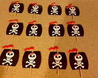 Birthday Pirate Ship Sail Cupcake Toppers Qty 12