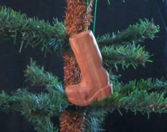Hand Carved Wood Boot Ornament