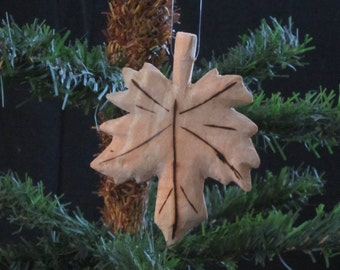 Hand Carved Wood Maple Leaf Ornament