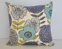 Floral Shop Natural White, Green, Purple, Blue, Gray, Throw Pillow, Decorative Pillow, Pillow Cover, Accent Pillow