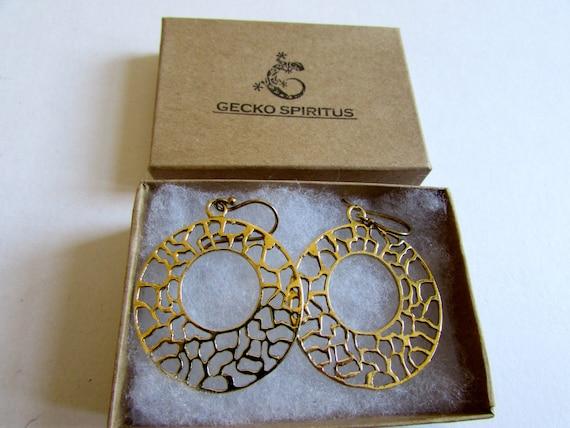 Circle Filigree hanging Earrings, Circle shape, Brass, Filigree Earrings , Hanging Earrings, Gift boxed, Free UK post BG10