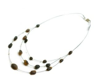 """Baltic Raw Amber Necklace """"Morning Coffee"""""""