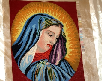 Vintage Needlepoint Gobelin made from C.Dolci: Madonna painting