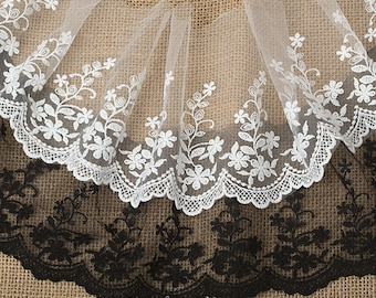 5.9 inches wide White/Black Lace Trim, embroidered lace, Retro floral Lace Fabric, vintage Bridal lace F0009