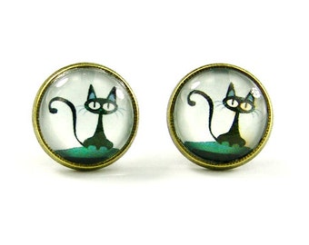 Cat Earrings Stud Cat Jewelry (with jewelry box)