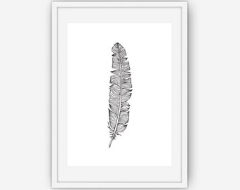 Black and White Feather Print, Black and White Wall Art, Feather Wall Art, Feather Wall Print, Wall Art, Printable, Instant Download
