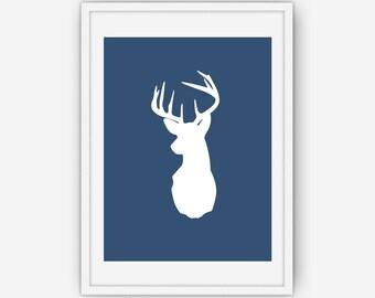 Navy Blue Deer Head Print, Deer Antlers Wall Art, Navy Blue Wall Art, Deer Print, Wall Art, Printable, Instant Download