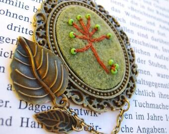 Bronze, antique bronze tone pendant necklace olive felt embroidered apple tree