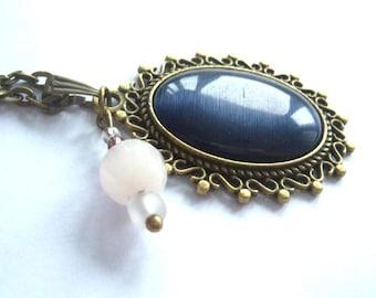 Bronze, bronze tone pendant dark blue glass cateye cabochon necklace gemstone rose quartz white rose gemstone