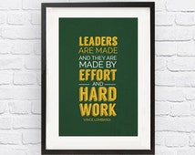 Vince Lombardi Green Bay Packers Inspirational Leader Quote Poster Print |Downloadable Digital JPG File| Wall Art for Football Fans