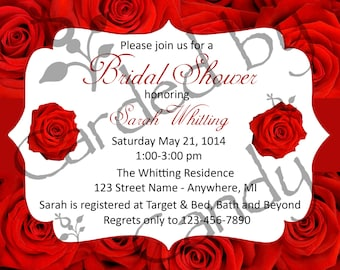 Red Roses Bridal Shower Invitation 5x7